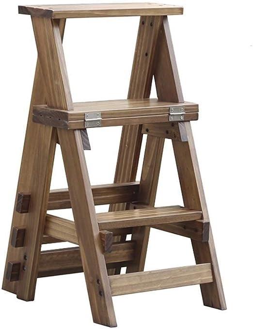 Hqqgwt Escalera Plegable de Madera para Cocina, escaleras de pie pequeñas, Taburete de Madera para Adultos y niños, Banco de Zapatos portátil, estantería de Flores para Cocina: Amazon.es: Hogar