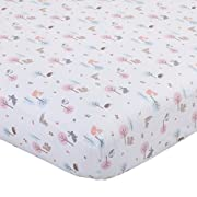 Carter's Woodland Meadow Forest/Deer/Owl 100% Cotton Fitted Crib Sheet, Pink/Aqua/White