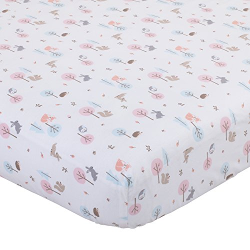 Carter's Woodland Meadow Forest/Deer/Owl 100% Cotton Fitted Crib Sheet, Pink/Aqua/White ()