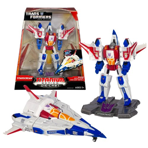 Hasbro Year 2006 Transformers Titanium Die-Cast Series 6 Inch Tall Robot Action Figure - Decepticon STARSCREAM with Display Base (Vehicle Mode: Cybertronian Fighter -