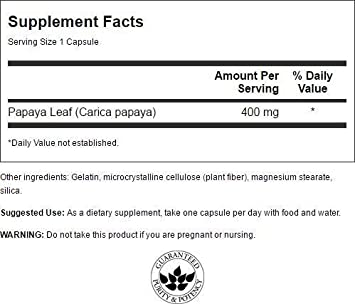 Amazon.com: Swanson espectro completo Papaya Leaf de 400 mg ...