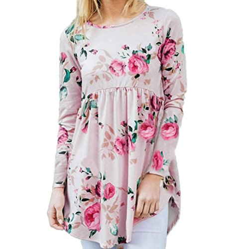 Blouse,Han Shi Women Autumn Casual Print Floral O Neck Long Sleeve Tops T-Shirt Camis (S, Pink)