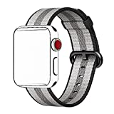 Tentan Woven Nylon Strap Replacement Nylon Band for Apple Watch Band (42mm Black Stripe)
