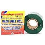 Rescue Tape | Self-Fusing Silicone Tape | Emergency Pipe & Plumbing Repair | DIY Repairs | Seal Radiator Hose Leaks | Wrap Electrical Wires | Used By US Military | 1' X 12' | Silicone Rubber | Green