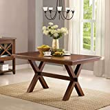 Beautiful Crossing Dining Table, Brown with Simple, Sleek Design Perfect for Your Home