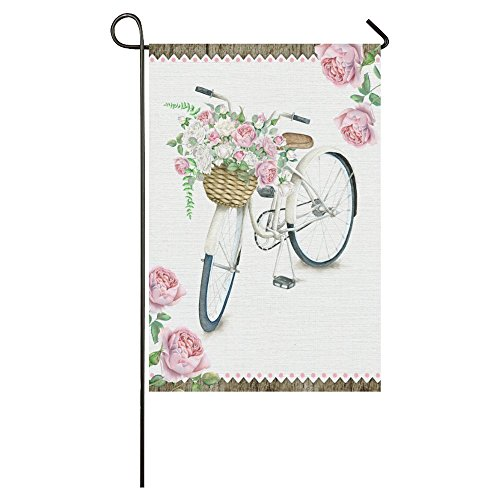 Mabrina Summer Bike with Rose Long Polyester Garden Flag Banner 12 x 18 Inch, Watercolor White Bicycle with Flower Basket Decorative Flag for Wedding Anniversary Home Outdoor Garden Decor