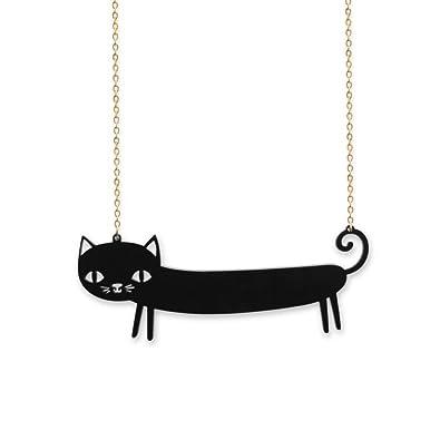 Láser de corte pequeño alce Perspex jaría BUTIFARRA negra collar del gato: Amazon.es: Joyería