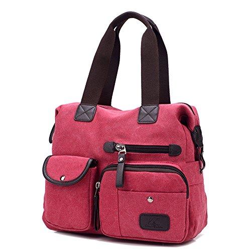 bolso Elegante h Rojo w X carteras Cm bolsos Mujeres De Hombro Moda Bolsa a Lona 39 Wewod l Bandolera Para Mano 36 13 7fHIq