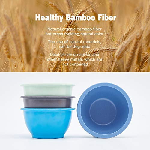 4pcs Bamboo Kids Bowls for Baby Feeding,Non Toxic & Safe Toddler Bowls,Eco-Friendly Tableware for Baby Toddler Kids Bamboo Toddler Dishes & Dinnerware Sets,(Blue, Light Blue, Green, Gray)