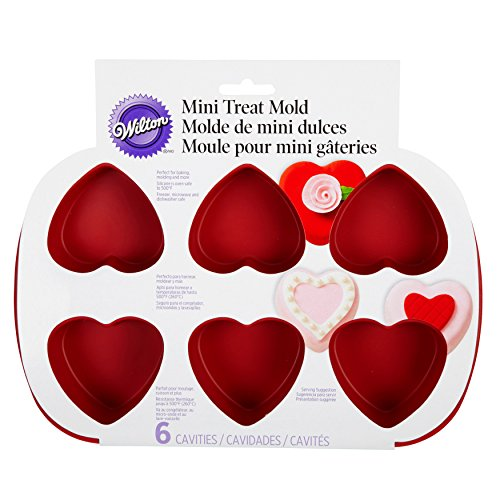 Wilton Mini Silicone Heart Mold, 6-Cavity Mold for Heart Shaped Cookies and Candy - Flat Heart Mold
