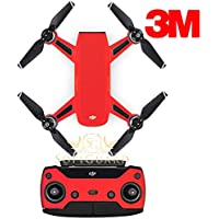 SopiGuard 3M Matte Red Precision Edge-to-Edge Coverage Vinyl Sticker Skin Controller 3 x Battery Wraps for DJI Spark