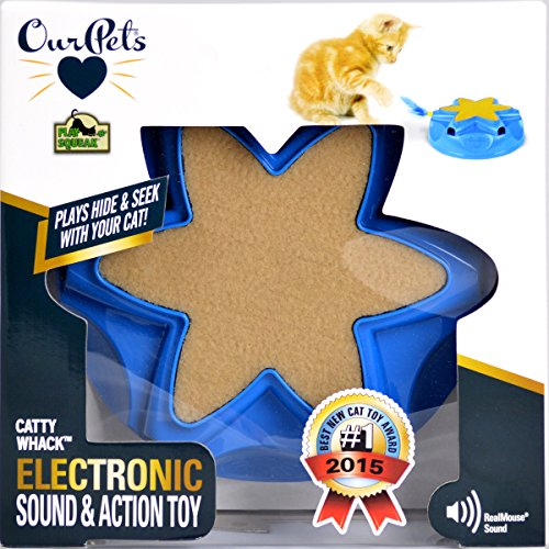 OurPets Catty Whack Interactive Cat Toy (Cat Toys for Stimulating Play with Real Mouse Sound, Rotating Feather for Hunting Instincts & Carpeted Scratching Area) 6