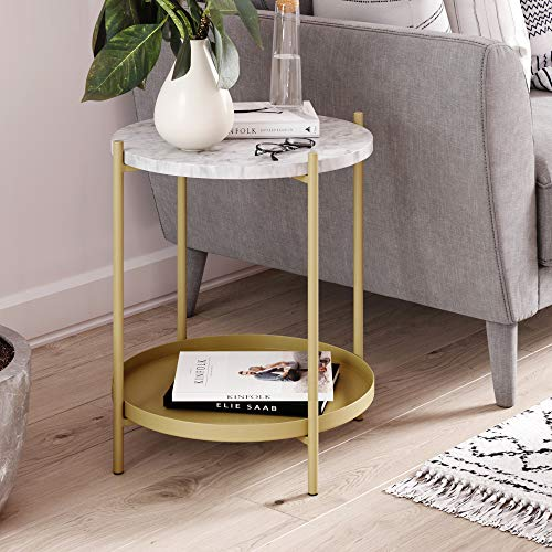 Nathan James 32301 Alexis Faux Marble Round End Side Table with Brass Metal Frame Storage, Gold