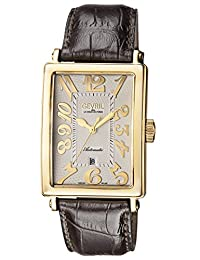 Gevril Men's 'Avenue of Americas' Automatic Gold-Tone and Leather Casual Watch, Color:Brown (Model: 5164)