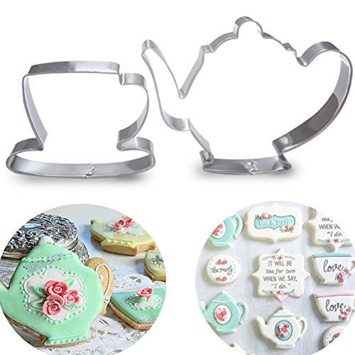 (JYS365 2Pcs Teapot Tea Cup Set Cookie Cutter Stainless Steel Fondant Baking Mould Accessories Cake Mold Tool - Silver)