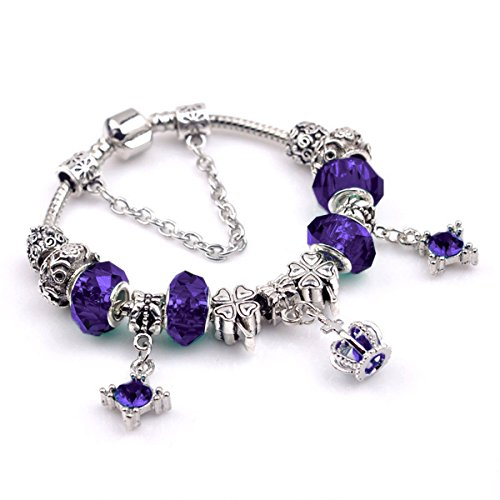 Silver Amethyst Violet - Olici Ladies And Teen Girls Elastic Beaded Charm Bracelet Amethyst European And American Silver Ornament Hand String Birthday Gift Violet