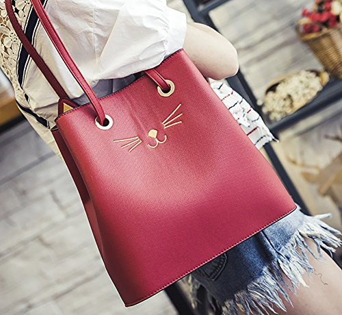 Women's Prick Shoulder PU Cut Ear Big Bag Cat Handbag Tote Purse Red Casual Kpling FqwFTrE