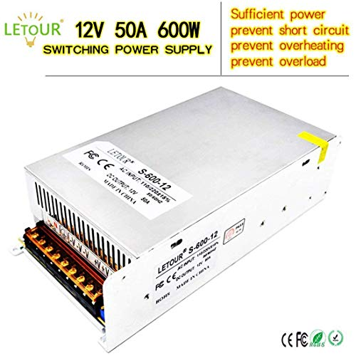 DC Power Supply 12V 50A AC 96V-240V Converter DC Adapter Universal Regulated Switching Power Supply 12Volt 600W LED Power Supply for LED Strip,CCTV, Radio, Computer Project(12V 50A ()