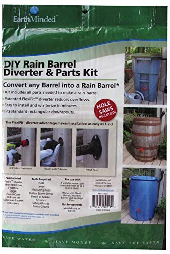 (EarthMinded DIY Rain Barrel Diverter and Parts Kit for 3 x 4 Inch Rectangular Downspouts - Water Collection System to Convert Containers into Rain Barrels - Catch Rain Water for Outdoor Chores)