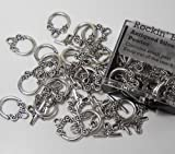 19 Complete Antiqued Silver Pewter Toggle Clasps 2 Side Design 14mm Loop, 17mm Bar, Jewelry Findings