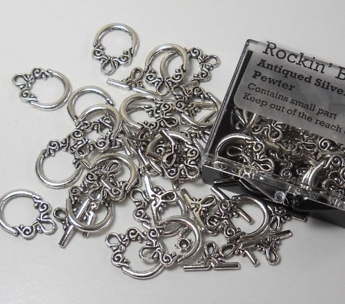 14mm Clasp - 19 Complete Antiqued Silver Pewter Toggle Clasps 2 Side Design 14mm Loop, 17mm Bar, Jewelry Findings