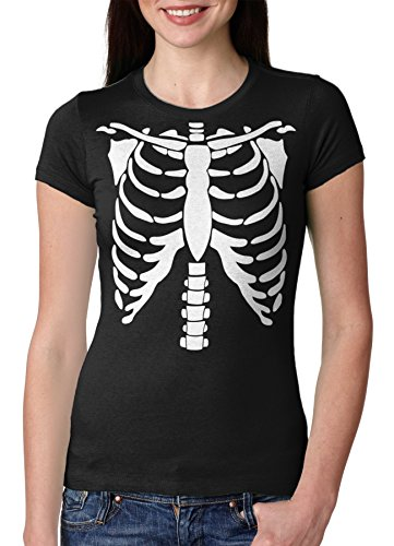 [Womens White Skeleton Rib Cage Halloween Costume T shirt -XXL] (Zombie Ribs Costume)