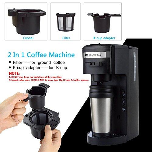 Single Serve Coffee Maker Ground Coffee : Espresso Machine & Coffeemaker Combos Yummy Sam Coffee Maker Machine, 2-in-1 K-cup Capsule ...