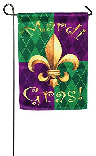 Evergreen Mardi Gras Foil Embellished Suede Garden Flag, 12.