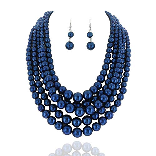 SP Sophia Collection Women's Glossy Pearl Polished Crossover Necklace & Earrings Set in Metallic - Necklace Set Blue Pearls