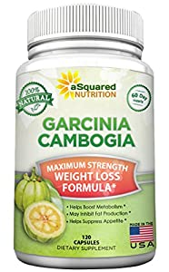 aSquared Nutrition Garcinia Cambogia Extract Weight Loss HCA Supplement - 100% Pure Natural Fat Burner Diet Detox Pills for Men & Women - 120 Capsules