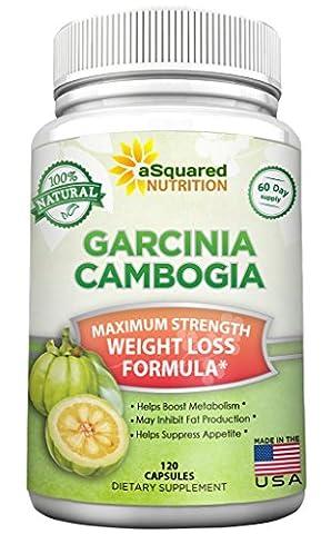aSquared Nutrition Garcinia Cambogia Extract Weight Loss HCA Supplement - 100% Pure Natural Fat Burner Diet Detox Pills for Men & Women - 120 (Carcinia Cambogia Premium)