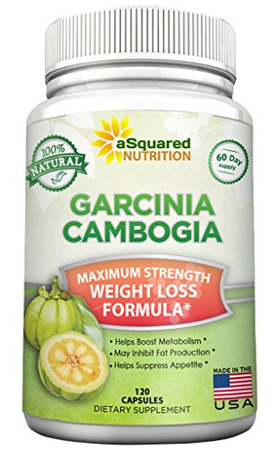 aSquared Nutrition Garcinia Cambogia Extract Weight Loss HCA Supplement – 100% Pure Natural Fat Burner Diet Detox Pills for Men & Women – 120 Capsules
