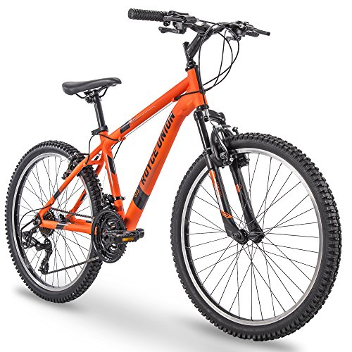 Mens 21-Speed Mountain Bike, Aluminum Frame, Trigger Shift, Matte Tangerine ()