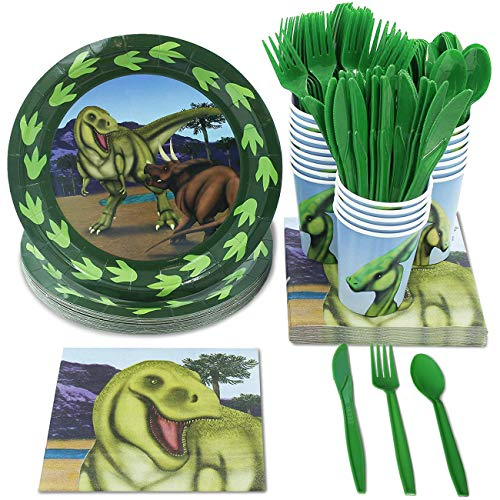 - Juvale Kids Dinosaur Birthday Party Supplies - Dino Plates, Knives, Spoons, Forks, Napkins, and Cups, Serves 24