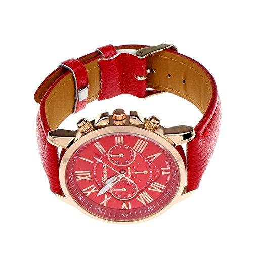 Tenworld Women Lady Girl Gift Analog Quartz Faux Leather Wrist Watch (Red)