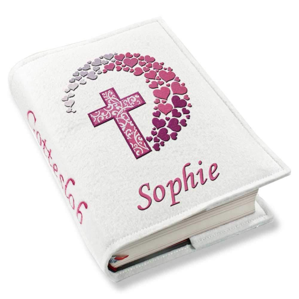 Gotteslob Gotteslobhülle Kreuz Herzen pink Kunstleder mit Namen bestickt weiß, Farbe:weiß SL-Store GbR