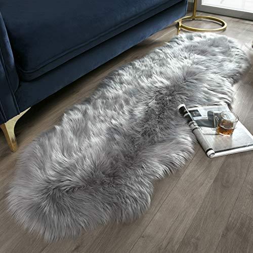 Ashler Ultra Soft Fluffy Area Rug Faux Fur Sheepskin Carpet Chair Couch Cover for Bedroom Floor Sofa Living Room, Grey 2 x 6 Feet