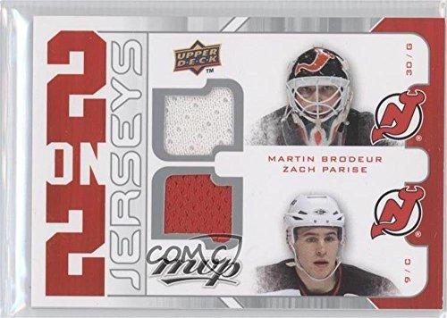 Zach Parise; Chris Drury; Henrik Lundqvist; Martin Brodeur (Hockey Card) 2008-09 Upper Deck MVP - 2 on 2 Jerseys #J2-BDLP - Chris Drury Hockey
