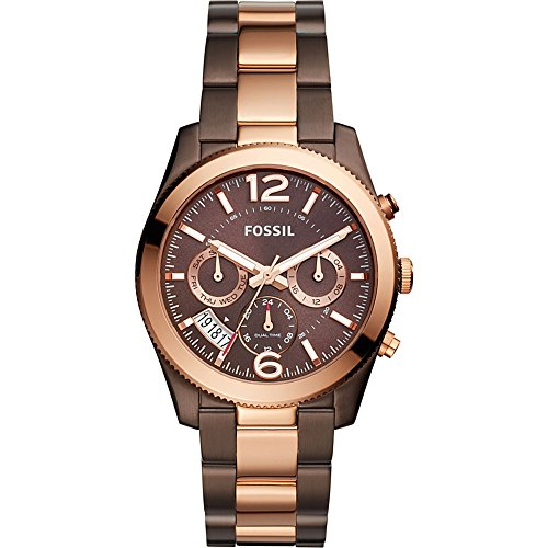 Fossil Women's 'Perfect Boyfriend' Quartz Stainless Steel Casual Watch, Color:Brown (Model: ES4284) by Fossil
