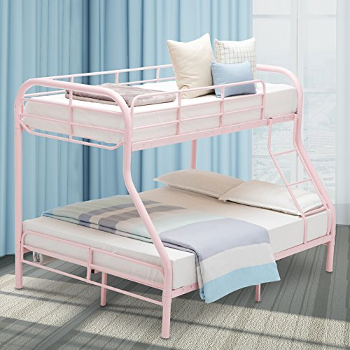 (LAGRIMA Twin Over Full Metal Sturdy Bunk Bed Frame, with Inclined Ladder, Safety Rails for Kids Teens Adult, Space-Saving Design - Pink)