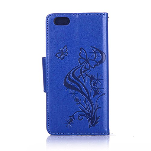 Für Apple iPhone 6 (4.7 Zoll) Tasche ZeWoo® Ledertasche Strass Hülle PU Leder Schutzhülle Glitzer Case Cover - L063 / Schmetterlinge (blau)