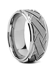 Metal Masters Co.® Tungsten Carbide Men's Weave Grooved Pattern Wedding Ring Band, 9mm Sizes 8 to 13