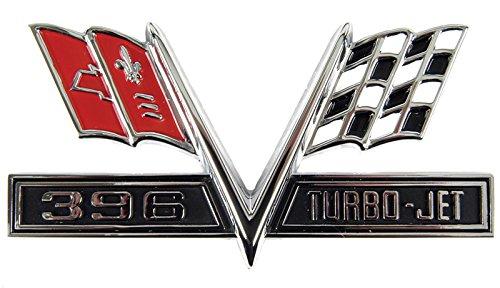Fender Emblem - 396 Turbo-Jet Flag - 65-67 Camaro Chevelle El Camino Impala (Sold as Each)