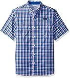 Columbia Men's Super Low Drag Short Sleeve Shirt, Vivid Blue Plaid, X-Large For Sale