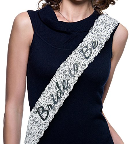 Bride to Be Bachelorette Sash - White Lace Bridal Shower Sash Gift Supplies Bachelorettesy -