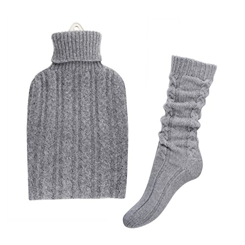 Pure Cashmere Hot Water Bottle and Bed sock Set (Light Grey)