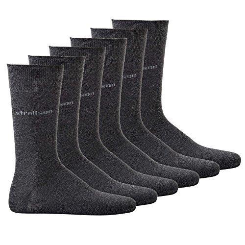 Strellson 6 Pares Hombre Calcetines de vestir, suave algodón, UNICOLOR Medias - Antracita,