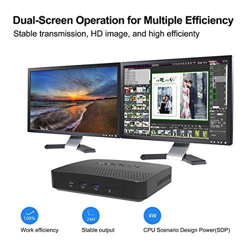 KODLIX N42-D Fanless Mini PC, Intel Pentium Apollo Lake N4200 (up to 2.5 GHz) Windows 10 Pro 64-Bit /4GB Ram Installed (Expandable DDR Via 2xSODIMM, Max 8GBx2)/SSD&HDD Slot/Gigabit Ethernet/USB-C/NAS by Plater (Image #1)