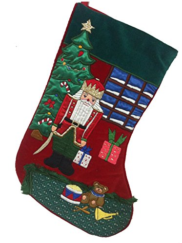 Gorgeous Christmas Holiday Velvet and Satin Stocking Wooden Soldier Guarding (Christmas Wooden Soldiers)