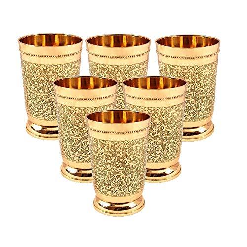 Set Of 6 Embossed Designer Brass Mint Julep Cup Goblet Tumbler Capacity 12 Ounce Each by PARIJAT HANDICRAFT (Image #1)